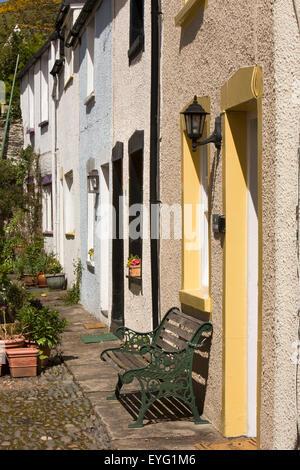 UK, Wales, Gwynedd, Aberdovey, Church Street, small fishermen's houses - Stock Photo