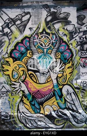 Constantly-changing street art displayed in Hosier Lane, Melbourne, Australia - Stock Photo