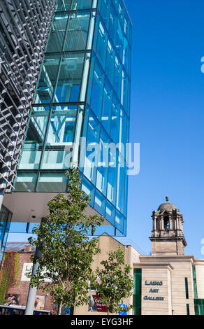 Newcastle Central Library with Laing Art Gallery in background. Newcastle upon Tyne, England, UK - Stock Photo