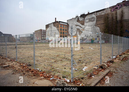 Berlin, Germany, vacated land in the Silesian street corner Cuvrystrasse - Stock Photo