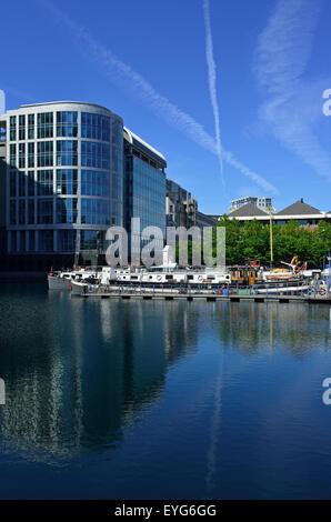 West India Quay, Canary Wharf Estate, Docklands, London E14, United Kingdom - Stock Photo