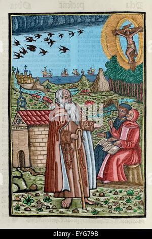 Ramon Llull (1235-1316). Spanish writer and philosopher. Blanquerna, ca. 1293. Engraving depicting Ramon Llull preaching - Stock Photo