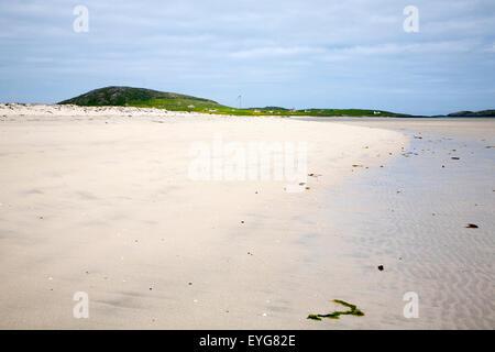 Overcast sky sandy beach Eoligarry, Barra, Outer Hebrides, Scotland, UK - Stock Photo