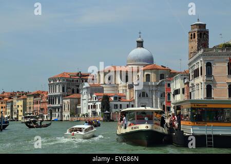 Grand Canal with church of San Geremia (chiesa di San Geremia), Venice. - Stock Photo