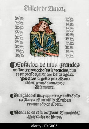 Villete de Amor by Baptista Montidea. Song book. Addressed to Luys Quirosillo Truhan. - Stock Photo