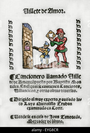 Villete de Amor by Baptista Montidea. Song book. Addressed to Luys Quirosillo Truhan. Colored engraving. - Stock Photo