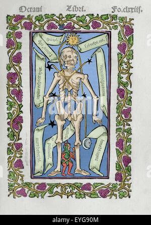 Ramon Llull (1235-1316). Spanish writer and philosopher.  Practica Compendiosa Artis Raymundi Lulli, 1523. Book - Stock Photo