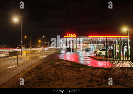Berlin, Germany, a Total petrol station in the European Quarter - Stock Photo