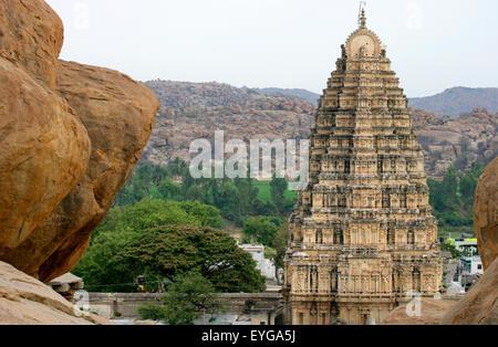 Virupaksha Temple; Hampi, Karnataka, India - Stock Photo