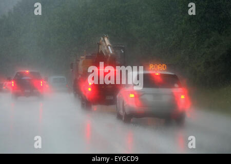 Charlotte, USA, symbol photo, poor visibility on the highway in the rain - Stock Photo