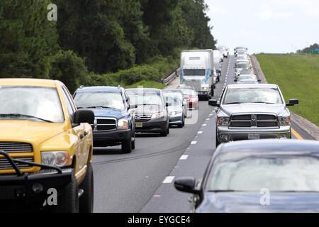 Lake City, United States, jam on the highway - Stock Photo