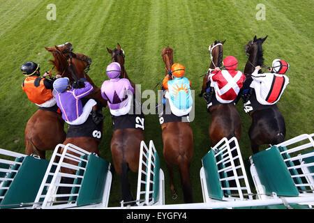 Hamburg, Germany, horses and jockeys at the start of a horse race - Stock Photo