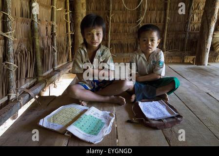 Myanmar (Burma), Irrawaddyi division, Young schoolboys at village school; Poe Doke village - Stock Photo