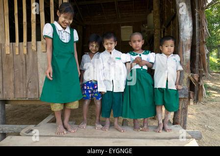 Myanmar (Burma), Irrawaddyi division, Young school children at village school; Poe Doke village - Stock Photo