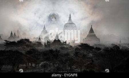 Night photos -Temples of Bagan with moon, Pagan, Mandalay, Myanmar. BURMA - Stock Photo