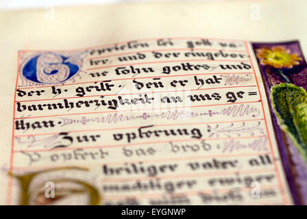 Historic, hand-written biblical script in a convent library, Germany,  Europe - Stock Photo