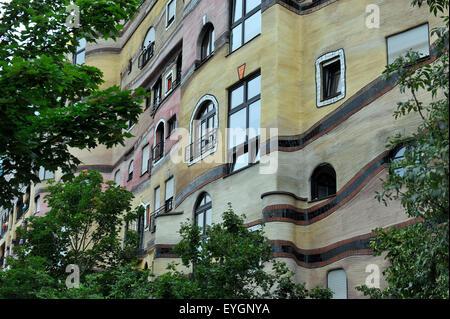 Forest spiral or Waldspirale, Friedensreich Hundertwasser House in Darmstadt Hesse German Europe - Stock Photo