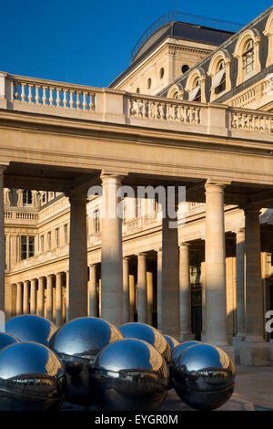 Early morning in the courtyard of Palais Royal, Paris, France - Stock Photo