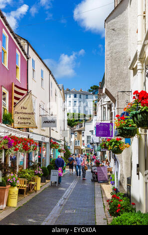 Shops on Foss Street in the town centre, Dartmouth, South Hams, Devon, England, UK - Stock Photo