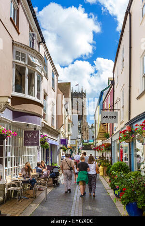 Shops and cafe on Foss Street in the town centre, Dartmouth, South Hams, Devon, England, UK - Stock Photo
