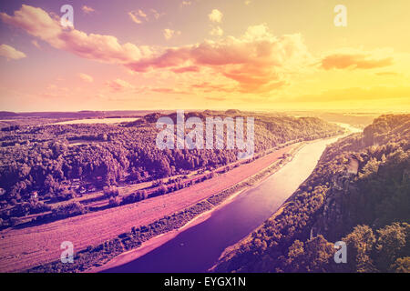 Vintage toned photo of Elbe river at sunset, Germany. - Stock Photo