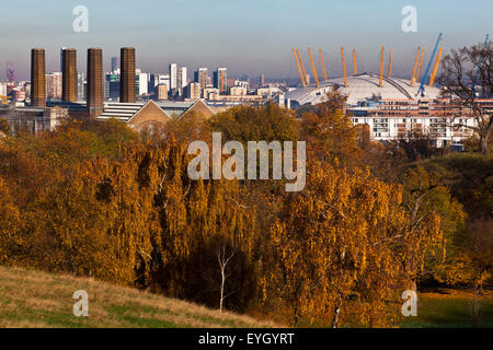 Autumn View Of Old Greenwich Power Station And O2 Arena From Greenwich Park; Greenwich, London, England, Uk - Stock Photo