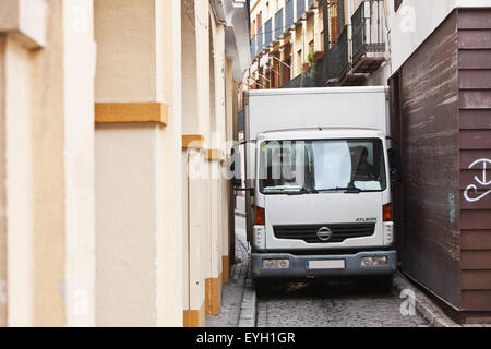 Van In Narrow Street; Seville, Andalucia, Spain, Europe - Stock Photo