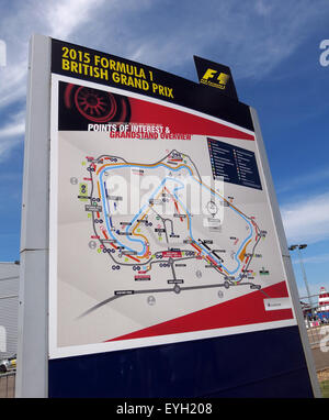 Silverstone F1 British Grand Prix Map of the Circuit, GP England - Stock Photo