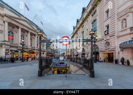 A London underground tube station on July 28, 2015 in Piccadilly Circus London, England. - Stock Photo