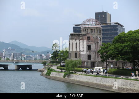 Hiroshima, Japan. 24th June, 2015. View of the peace memorial, the Atomic Bomb Dome, in Hiroshima, Japan, 24 June - Stock Photo