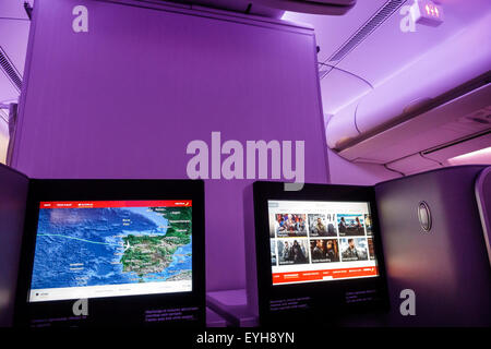 Spain Europe Eurozone Spanish MAD Adolfo Suarez Madrid-Barajas Airport international business class cabin onboard - Stock Photo