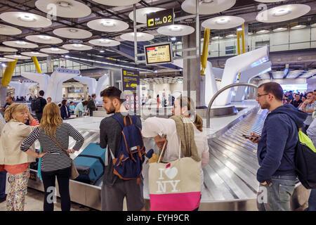 Spain Europe Eurozone Spanish MAD Adolfo Suarez Madrid-Barajas Airport international inside interior terminal concourse - Stock Photo
