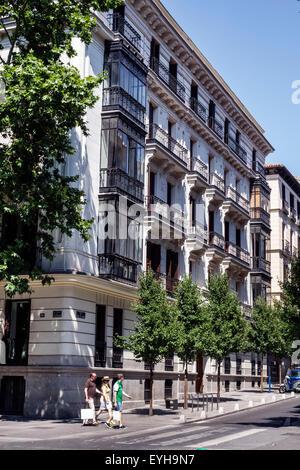 Madrid Spain Europe Spanish Calle de Serrano apartment residential building - Stock Photo