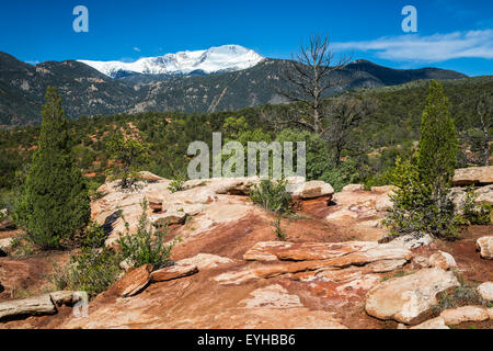 The rock formations of  Garden of the Gods National Natural Landmark and Pike's Peak, near Colorado Springs, Colorado, - Stock Photo