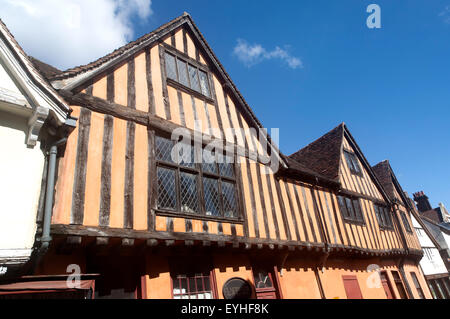 Half timbered medieval historic buildings on Silent Street, Ipswich, Suffolk, England, UK - Stock Photo