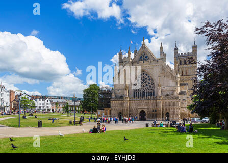 Exeter Cathedral and Cathedral Yard from Cathedral Green, Exeter, Devon, England, UK - Stock Photo