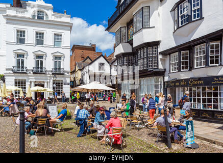 Bars and cafes on Cathedral Yard in the city centre, Exeter, Devon, England, UK - Stock Photo