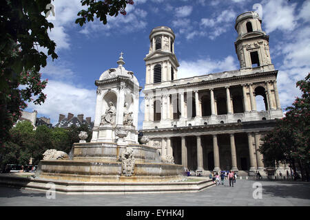 the Fountain of the Four Bishops and the church of Saint-Sulpice Place Saint Sulpice Paris France - Stock Photo