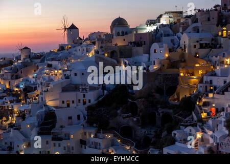 Sunset in Oia, Santorini, Greek Islands, Cyclades, Greece, EU, Europa - Stock Photo