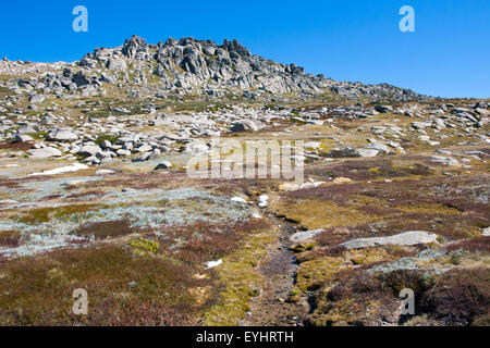 A spectacular view across the valley on the Kosciuszko walk near the summit of Thredo in Snowy Mountains, New South - Stock Photo