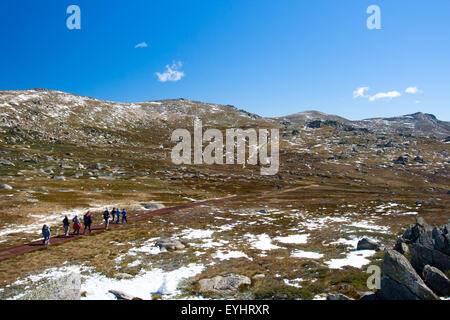 A spectacular view across the valley on the Kosciuszko walk at the summit of Thredo looking towards Mount Kosciusko, - Stock Photo