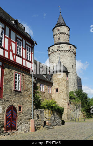 The Hexenturm ('Witches Tower) at the castle in Idstein, Germany. The tower dates from 1170 and is also known as - Stock Photo