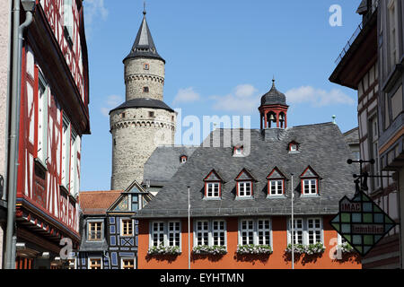 Halif-timbered buildings and the Hexenturm ('Witches Tower) in Idstein, Germany. - Stock Photo