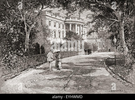South portico of the White House from near the Greenhouse, Treasury Building in the distance, Washington D.C., America - Stock Photo