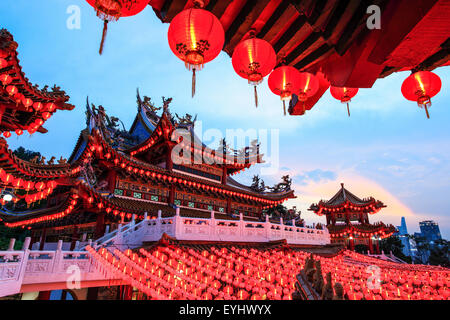 The Thean Hou Temple lanterns all lighted up during Chinese New Year. - Stock Photo