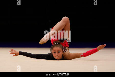 Liverpool, UK. 30th July, 2015. British Gymnastics Championship Series Day 1. Action from the girls Under 10 Rhythmic - Stock Photo