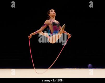 Liverpool, UK. 30th July, 2015. British Gymnastics Championship Series Day 1. Maria Savvides of the Elena Rhythmic - Stock Photo