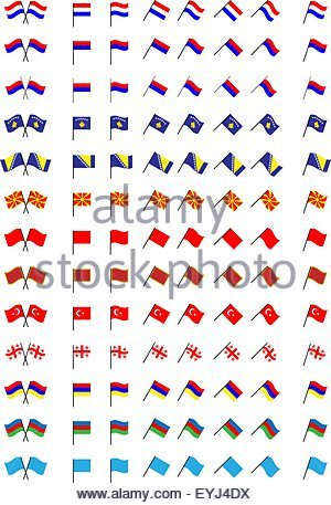Flags of Europe 3 (No Coats of Arms) - Stock Photo