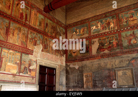 italy, rome, basilica of san lorenzo fuori le mura, portico, medieval frescos, life of st lawrence (13th century) - Stock Photo