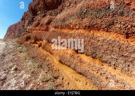 The path from Imerovigli to Oia, Santorini, Greek Islands, Cyclades, Greece, EU, Europa, volcanically profile, red - Stock Photo